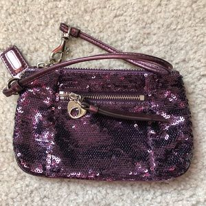 Coach purple Poppy Sequin Wristlet